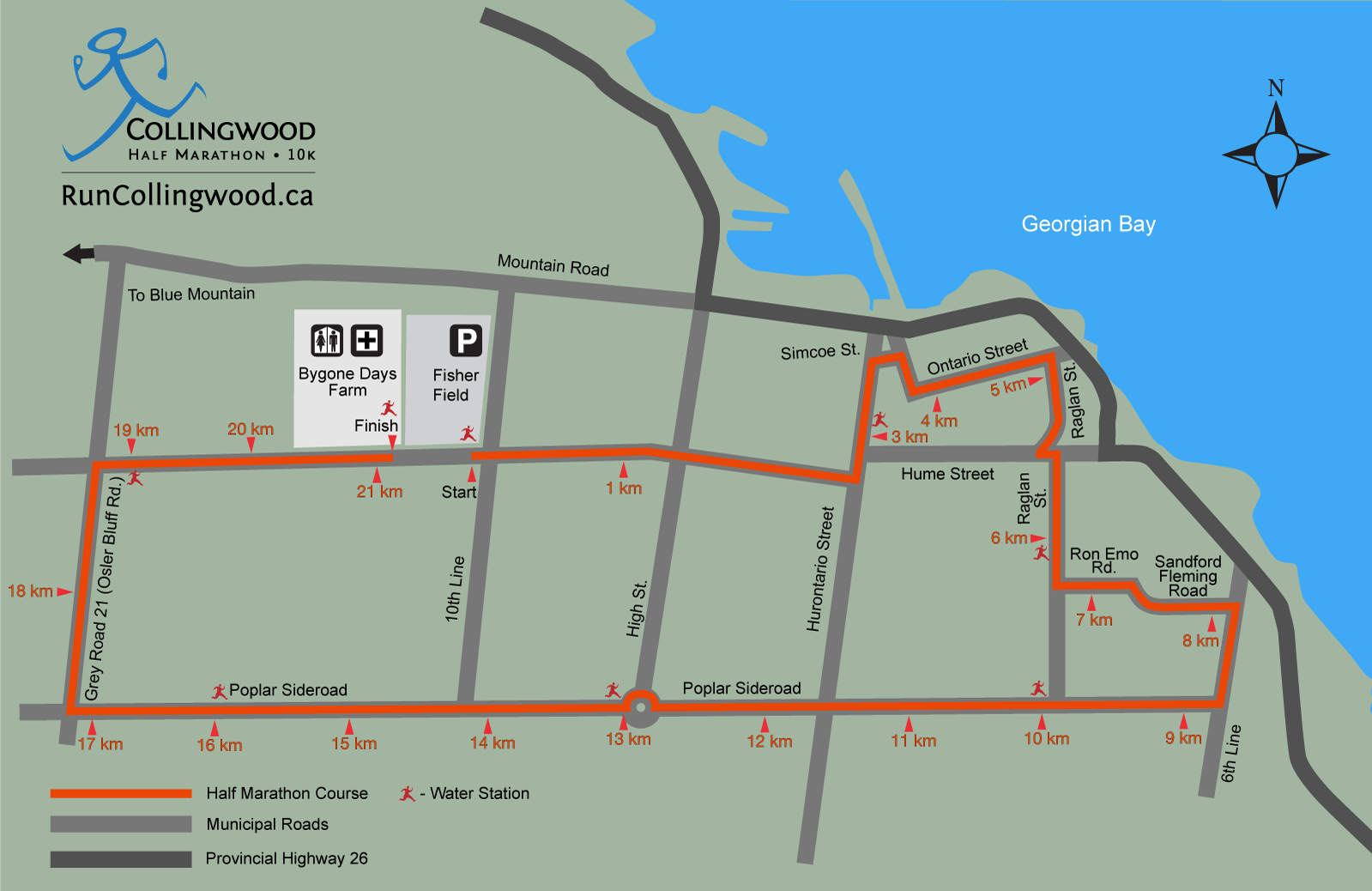 Collingwood Half Marathon Course Map